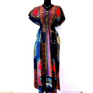 African Dress Wax Print Red & Black